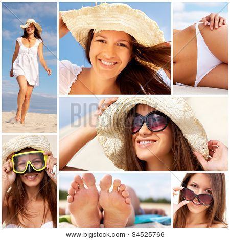 Cheerful girl enjoying her summer vacation on the beach