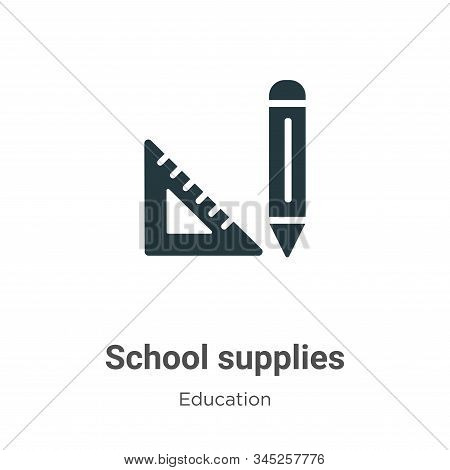 School Supplies Vector Icon On White Background. Flat Vector School Supplies Icon Symbol Sign From M