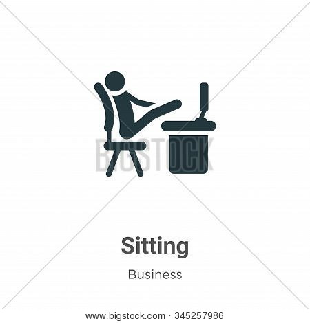 Sitting icon isolated on white background from business collection. Sitting icon trendy and modern S