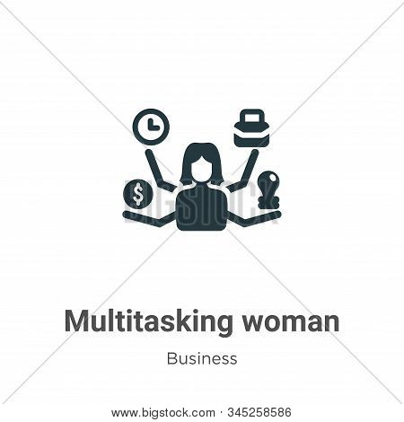 Multitasking woman icon isolated on white background from business collection. Multitasking woman ic