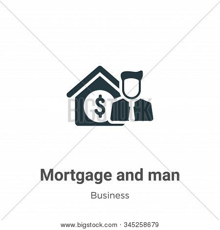 Mortgage And Man Vector Icon On White Background. Flat Vector Mortgage And Man Icon Symbol Sign From