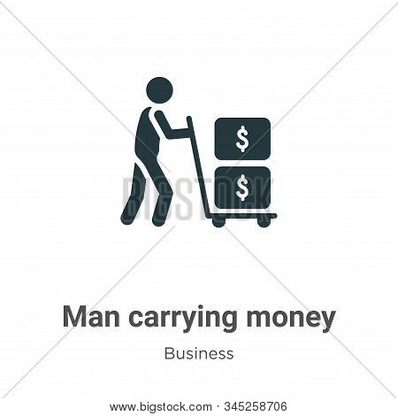 Man Carrying Money Vector Icon On White Background. Flat Vector Man Carrying Money Icon Symbol Sign