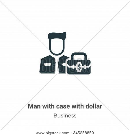 Man with case with dollar icon isolated on white background from business collection. Man with case