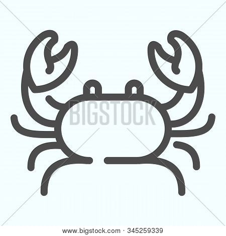 Crab Line Icon. Seafood Crab Shop Logo Illustration Isolated On White. Sea Crustacean With A Broad C