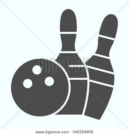 Bowling Solid Icon. Bowling Activity Vector Illustration Isolated On White. Skittles And Ball For Bo