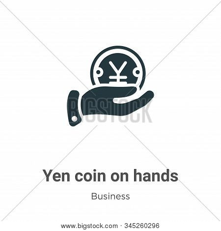 Yen Coin On Hands Vector Icon On White Background. Flat Vector Yen Coin On Hands Icon Symbol Sign Fr