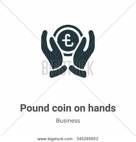 Pound coin on hands icon isolated on white background from business collection. Pound coin on hands