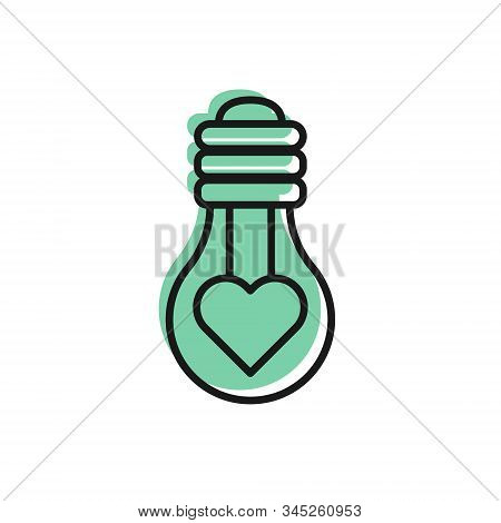 Black Line Heart Shape In A Light Bulb Icon Isolated On White Background. Love Symbol. Valentine Day