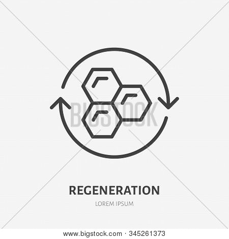 Cell Regeneration Line Icon, Vector Pictogram Of Collagen Repair. Skincare Illustration, Sign For Ce