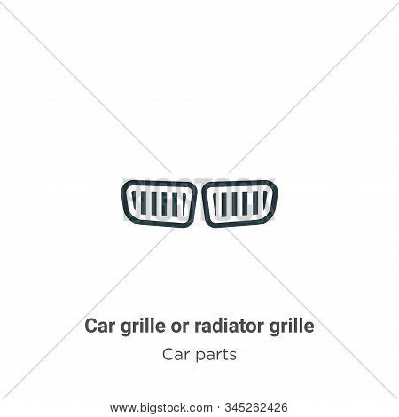 Car Grille Or Radiator Grille Vector Icon On White Background. Flat Vector Car Grille Or Radiator Gr