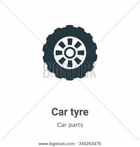 Car Tyre Vector Icon On White Background. Flat Vector Car Tyre Icon Symbol Sign From Modern Car Part