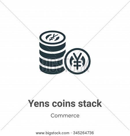 Yens coins stack icon isolated on white background from commerce collection. Yens coins stack icon t