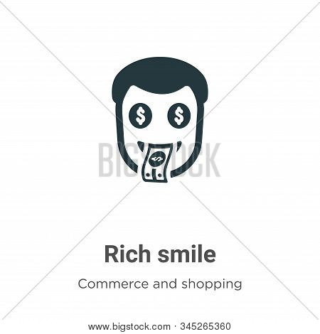 Rich Smile Vector Icon On White Background. Flat Vector Rich Smile Icon Symbol Sign From Modern Comm
