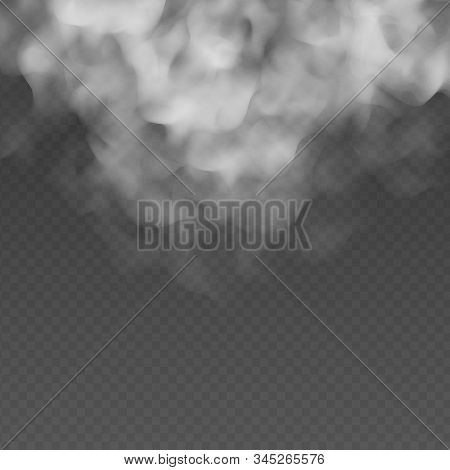 Fog Or Smoke Cloud Isolated On Transparent Background. Realistic Smog, Haze, Mist Or Cloudiness Effe