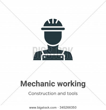 Mechanic Working Vector Icon On White Background. Flat Vector Mechanic Working Icon Symbol Sign From