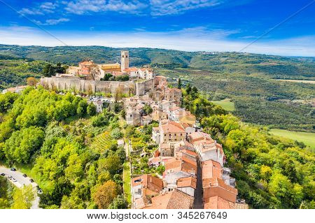 Beautiful Old Town Of Motovun, Stone Houses And Church Tower Bell, Romantic Architecture In Istria,