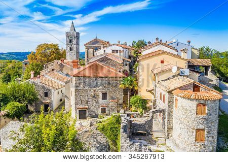 Beautiful Old Town Of Hum, Stone Houses And Church Tower Bell, Romantic Traditional Architecture In