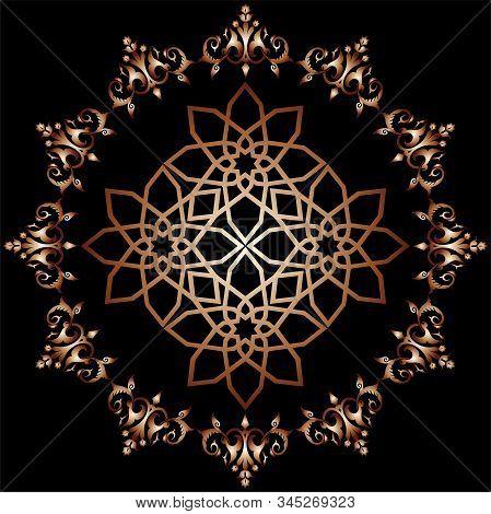 Seamless Pattern Oriental Golden Ornament On Black Background.