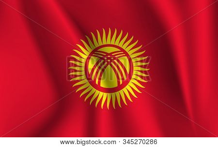 Realistic Waving Flag Of Kyrgyzstan. Current National Flag Of Kyrgyz Republic. Illustration Of Lying