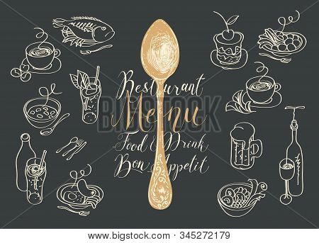 Vector Restaurant Menu With Spoon, Sketches Of Different Dishes And Handwritten Inscriptions On The