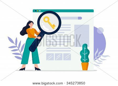 Cute Search Engine Optimization Concept. Girl Do Keywords Research To Improve Website Page Rank. Fla