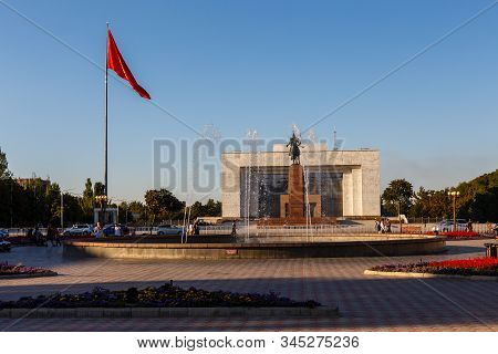 Bishkek, Kyrgyzstan - September 18, 2019: Ala Too Square. Hero Manas Statue And State History Museum