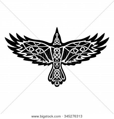 Vector Illustration Of A Crow With Open Wings. Raven Wisdom Symbol. Traditional Ancient Viking Sacre