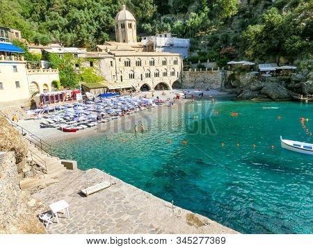 San Fruttuoso Abbey In Camogli, Liguria At Italy
