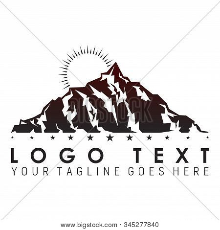 Excellent Logo Or Design Of The Mountain With The Sun Rising
