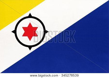 Bonaire Island National Fabric Flag, Textile Background. Symbol Of International Caribbean Sea World