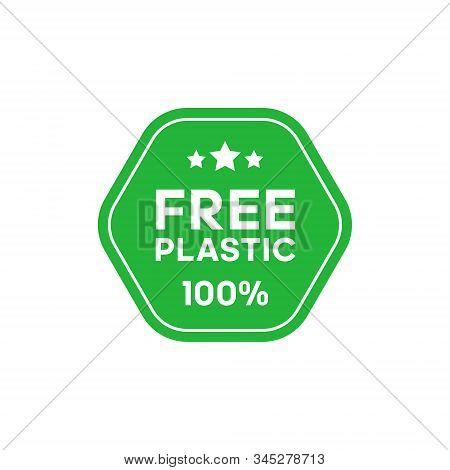 Free Plastic 100 Percent Green Hexagonal Sticker. Certificate Emblem Label. Vector Illustration.