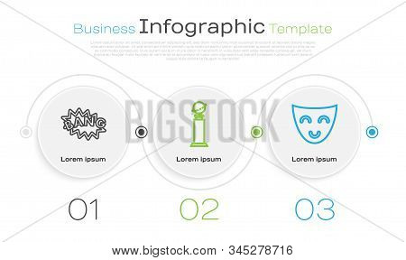 Set line Drama theatrical mask , Laptop screen with HD video technology  and Scenario . Business infographic template. Vector poster
