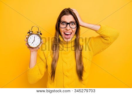 Omg I Late. Crazy Frustrated Girl High School Girl Hold Clock Miss Academic Courses Time Deadline Sc