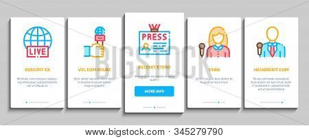 Journalist Reporter Onboarding Mobile App Page Screen Vector. Journalist And Hand With Microphone, V