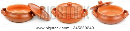 Panoramic ceramic pots with lid from different angles isolated on white background.