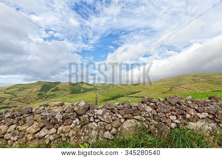 A Rocky Hand Built Wall In The Rural Area Of Northern Flores On The Island Of Flores In The Azores,
