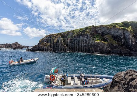 Santa Cruz Das Flores, Portugal - August 9: Unidentified People Prepare Boats For Tourists To Travel