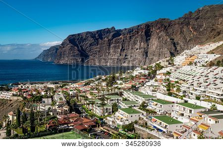 Santiago Del Teide, Tenerife, Spain - December 23, 2019: Small Resort Of Los Gigantes Known For The