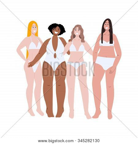 Multiracial Group Of Women With Different Body Shape, High And Weight. Diversity Flat Cartoon Hand D