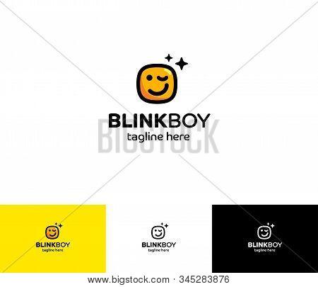 Emoji Blink Boy Logo.  Blink Boy Logo Is Positive Emoji With Squared Head;)