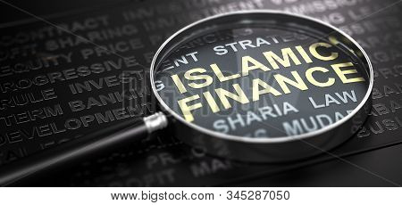 3d Illustration Of A Magnifier Over The Text Islamic Finance Written With Golden Letter. Black Backg