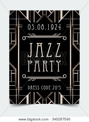 Art Deco Vintage Invitation Template Design With Illustration Of Flapper Girl. Patterns And Frames.