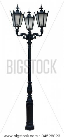 lamp post . street  lampost. streetlight collection. isolated on white background. poster