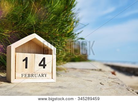 Happy Valentines Day, Valentines Day Background, Wooden Calendar On February 14 In Soft Focus Backgr