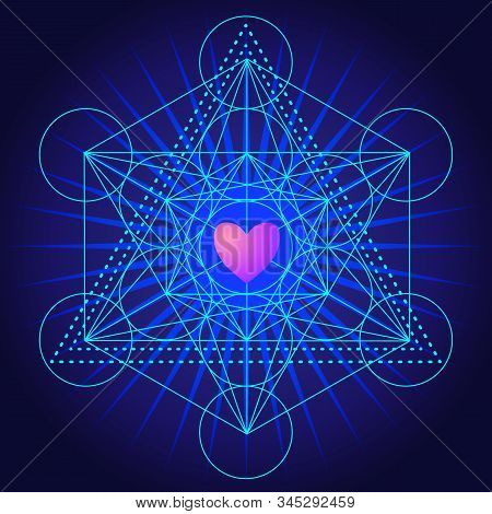 Metatrons Cube, Flower Of Life With Heart. Sacred Geometry Abstract Background.