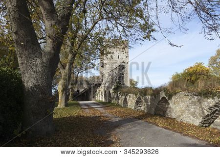View Of The City Wall In World Heritage City Visby, The Best-preserved Medieval City In Scandinavia.