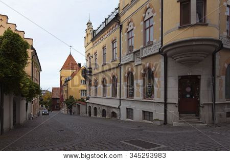 Visby, Sweden On October 13. Street View Of Buildings On October 13, 2019 In Visby, Sweden. Old Hous