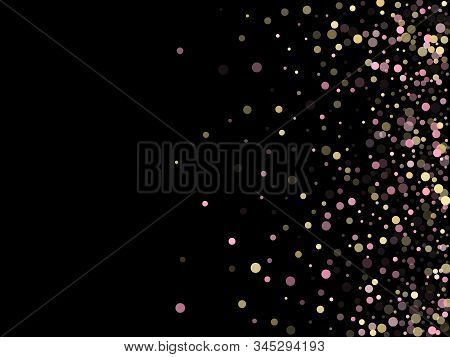 Pink Gold Confetti Circle Decoration For New Year Banner Background. Bokeh Lights Effect Vector. Gol