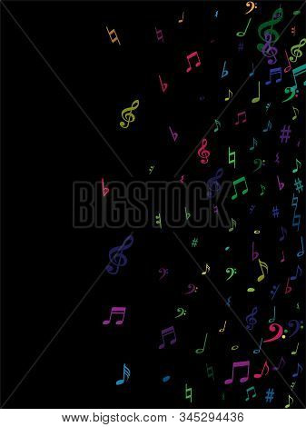 Color Flying Musical Notes Isolated On White Backdrop. Fresh Musical Notation Symphony Signs, Notes