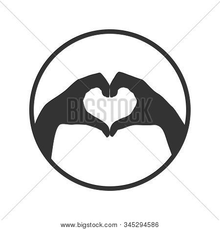 Hands Folded In The Shape Of A Heart. Sign In The Circle Isolated On White Background. Gesture Of Th